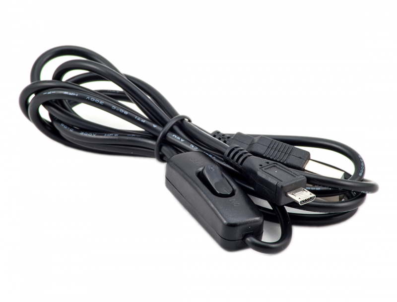 Micro USB cable with on/off switch for Raspberry Pi, 1,5m, black