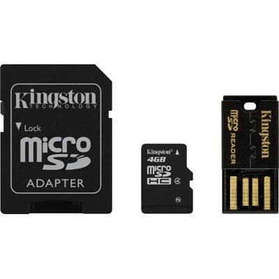 Kingston 4GB Multi Kit / Mobility Kit, microSDHC, USB, SDHC, Class 4
